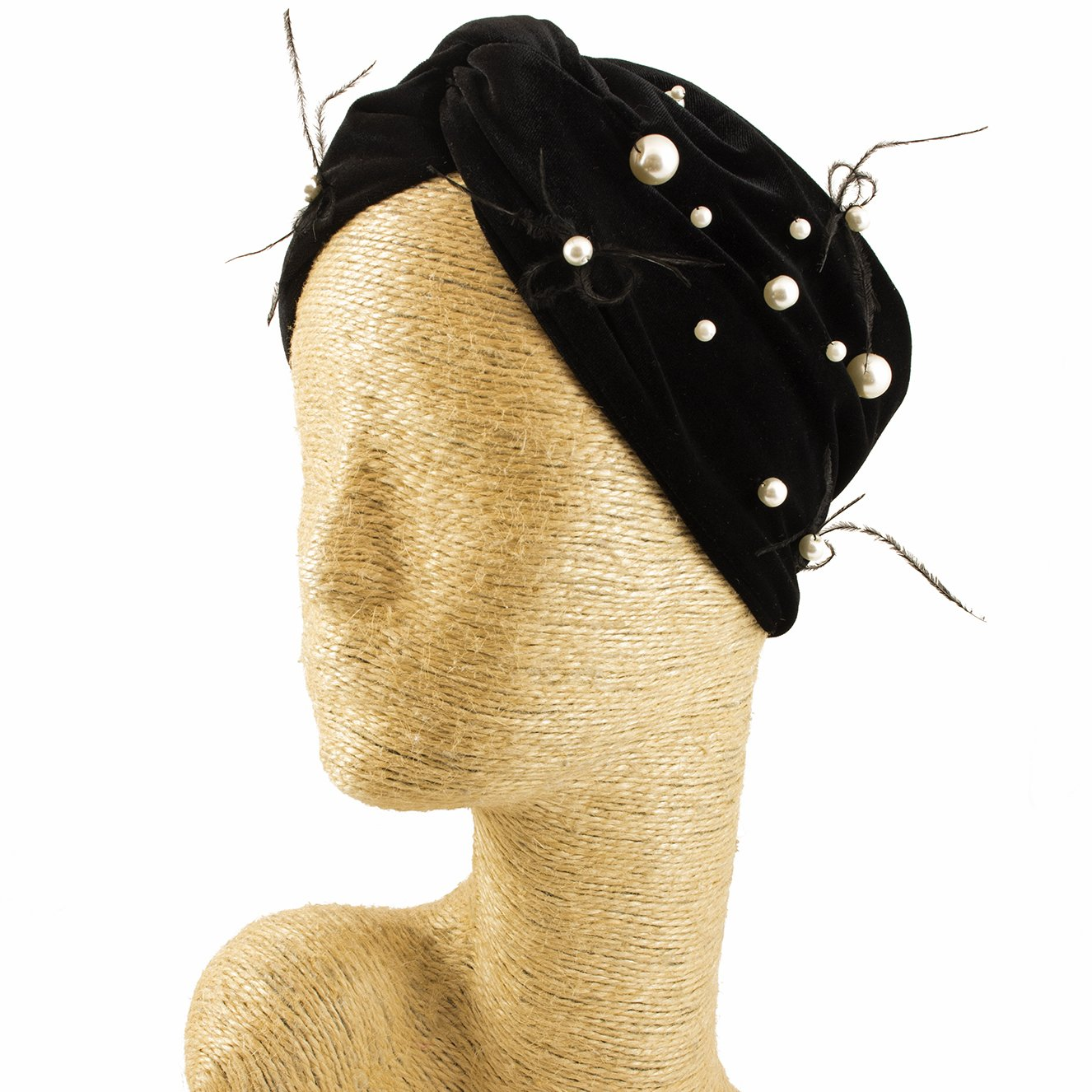 Fascinator, Velvet Headbands, Millinery, Worldwide Free Shipment, Delivery in 2 Days, Customized, Costume, Designer Fashion, Pearl, Head wrap, Boho Accessories, Black, Beaded, Feather, Jewelled