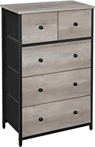 SONGMICS Rustic Drawer Dresser, Storage Dresser Tower with 5 Fabric Drawers, Wooden Front and Top, Industrial Style Dresser Unit, for Living Room, Hallway, Nursery, Greige and Black ULGS045G01