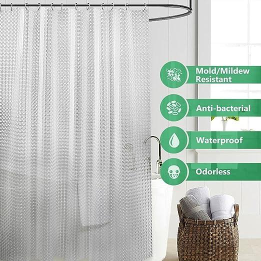 Amazon.com: Green Tree Cortina de ducha sin olor EVA con ganchos multiusos para el hogar y la ducha de Camping (Blanco): Home & Kitchen