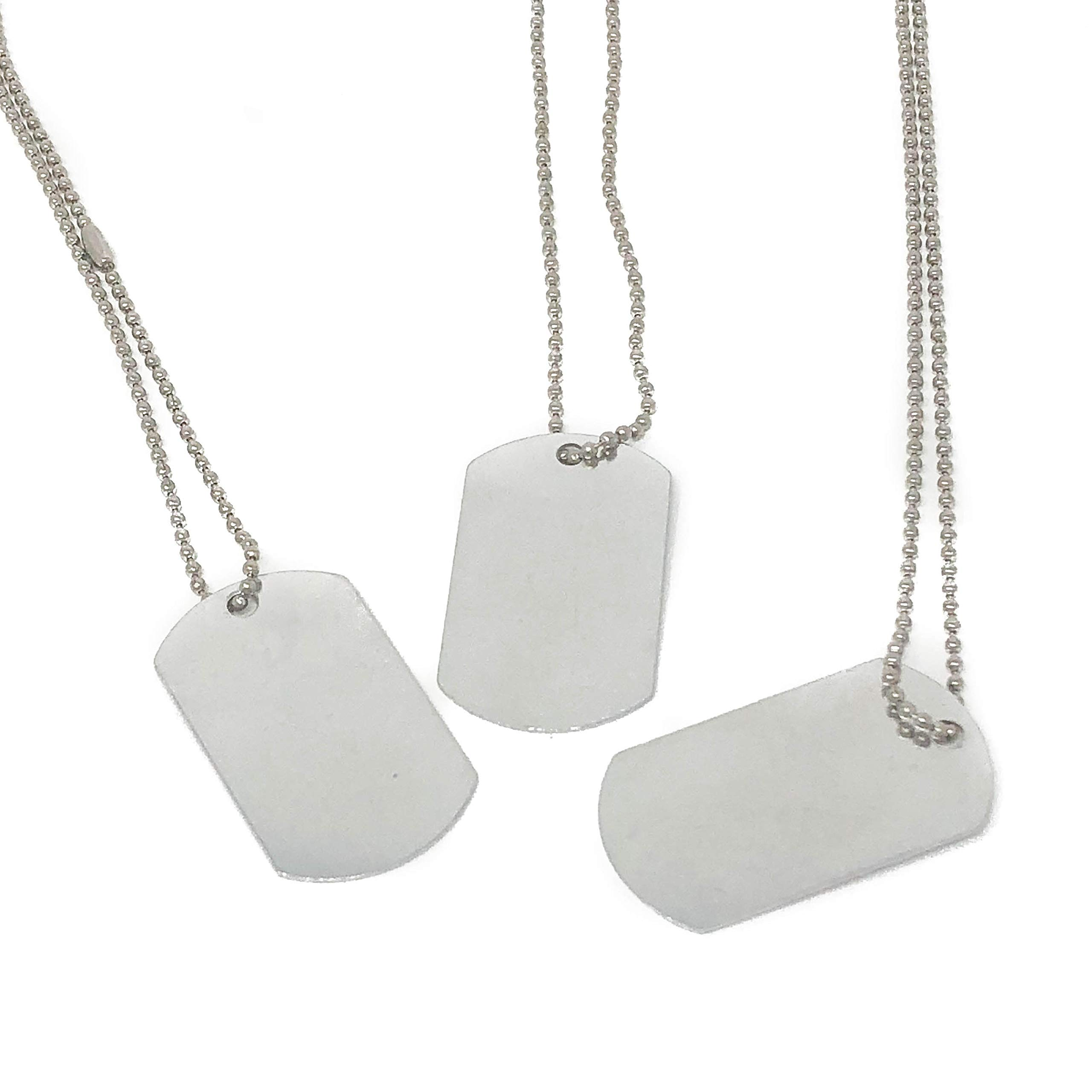 24 Piece Military Dog Tags for Kids - Silver Necklaces by Podzly