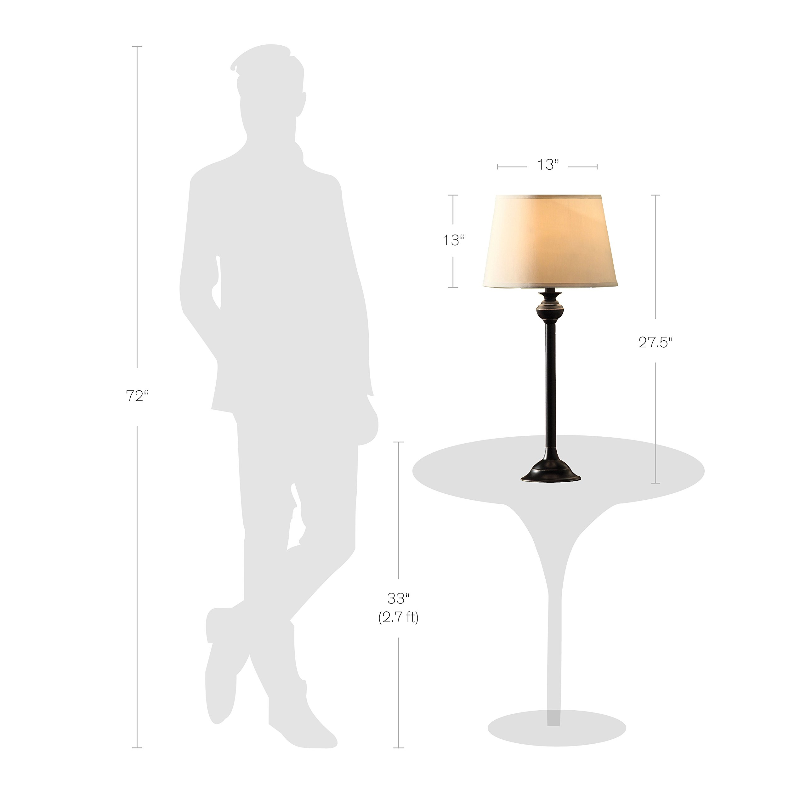 Catalina Lighting 18079-001 Traditional 3-Piece Metal Floor & Table Lamp Set with Linen Shades, Without Bulb, Black Classic by Catalina Lighting (Image #6)