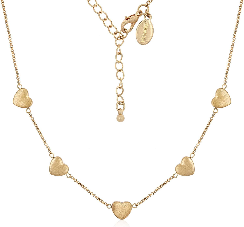 Amazon Com Pomina Love Heart Charm Station Necklace Gold Heart