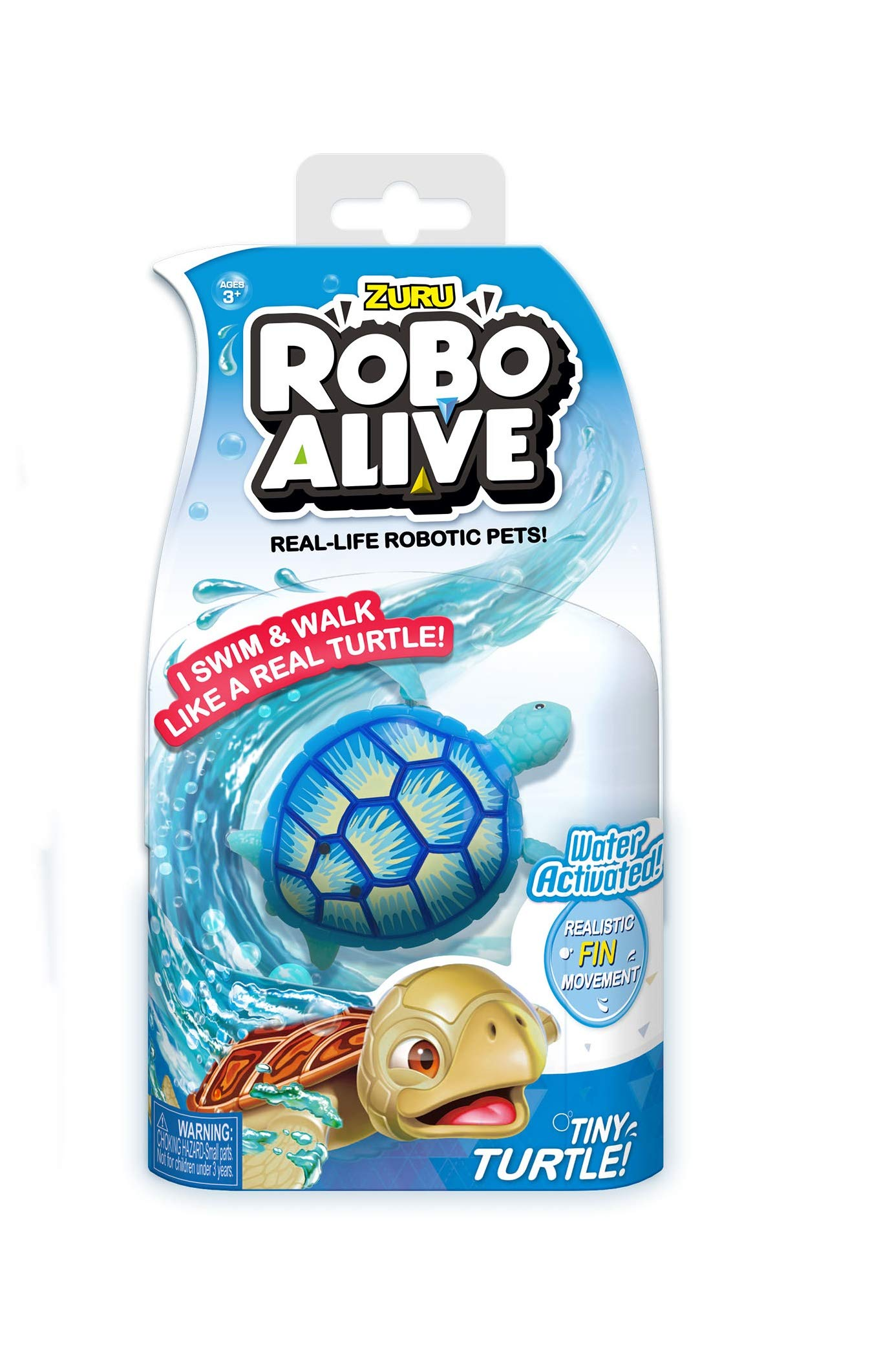 New! Limited Edition ROBO ALIVE Tiny Turtle Collection - Blue Sea Turtle - Real Life Robotic Pets - Perfect for Stocking Stuffer and Bath Toy - Water Activated with Realistic Fin Movement! by  (Image #1)