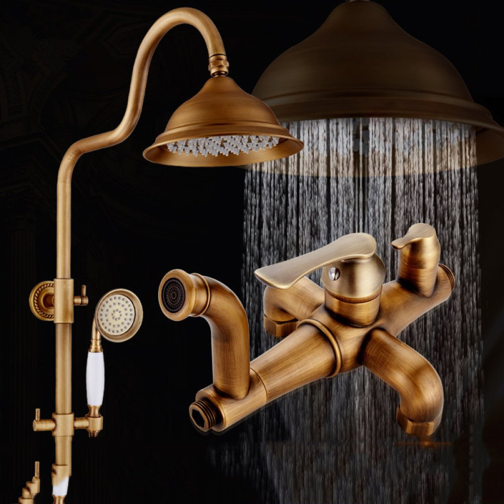 SMQ shower set copper European vintage shower swivel with lift faucet shower set