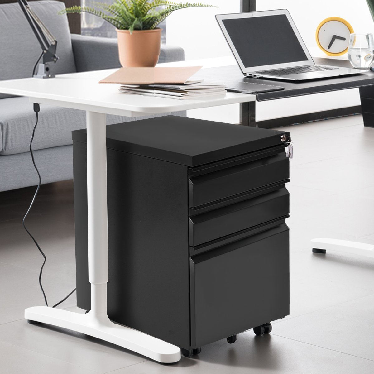 Giantex Rolling Mobile File W/3 Lockable Drawers and Pedestal for Office Study Room Home Steel Storage Cabinet by Giantex (Image #3)