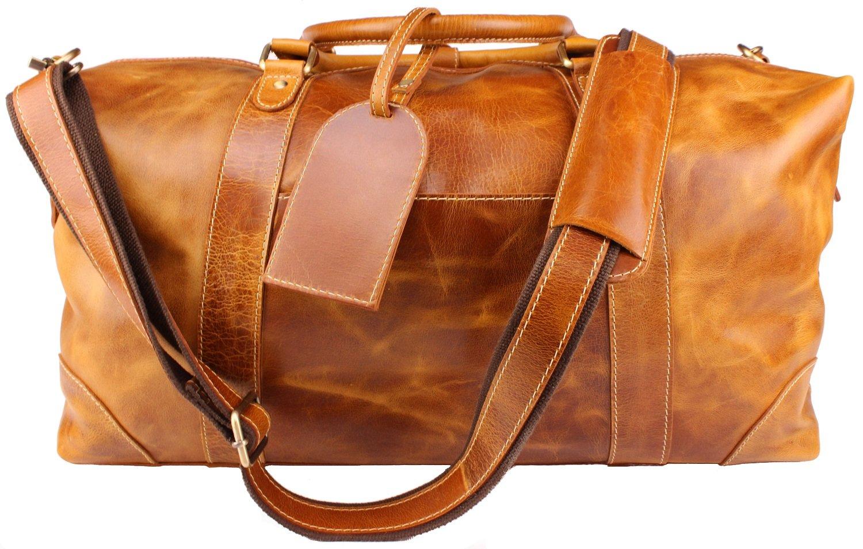 Viosi Vintage Expandable Duffel Bag Leather Weekender Luggage Travel Bag [21'' Tan]