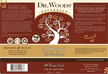 Dr. Woods Pure Almond Liquid Castile Soap, 32 Ounce Pack of 2