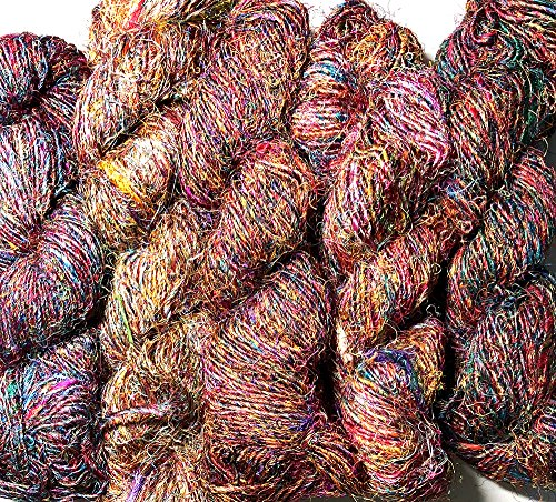 Yarn Place 5 LARGE Skeins 2 lb Himalaya Recycled Sari Silk Yarn Hippie Color Handspun