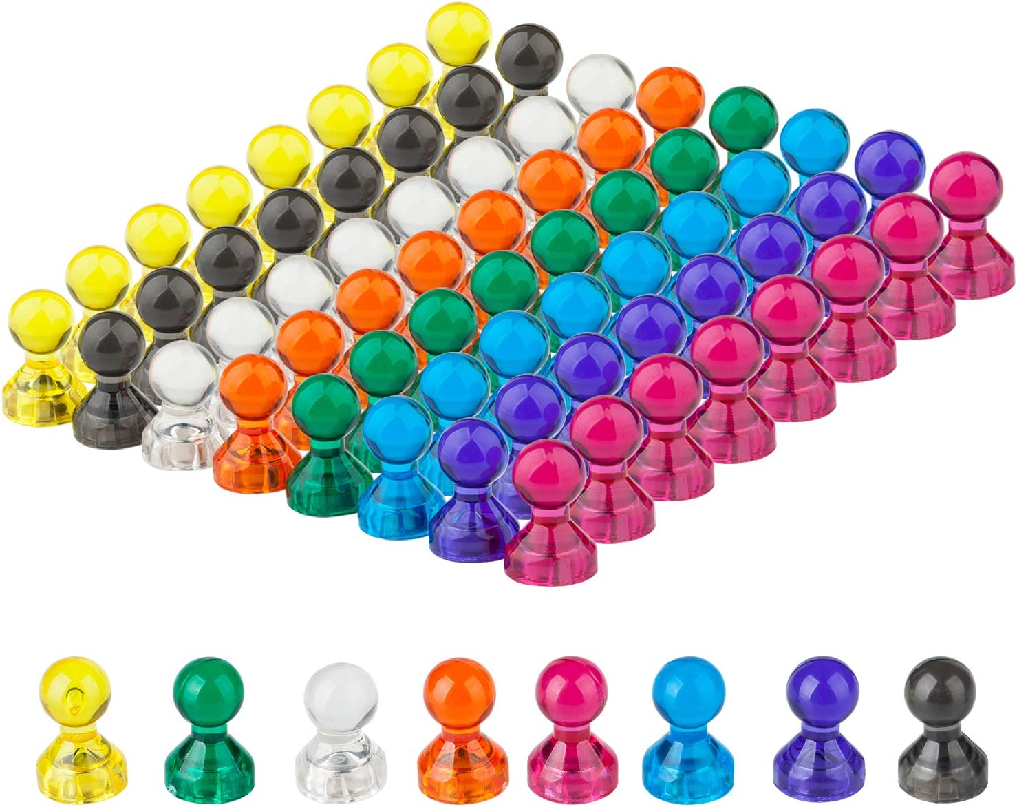 Push Pin Magnets, Refrigerator Magnets, 8 Assorted Colors 64 Bulk Pack Magnetic Push Pins For Home, School, Classroom and Office, Use for Fridge Calendar Map Whiteboard Magnets