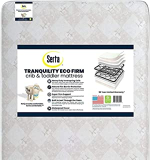 product image for Serta Tranquility Eco Firm Innerspring Crib and Toddler Mattress |Waterproof | GREENGUARD Gold Certified | Trusted 50 Year Warranty | Made in The USA