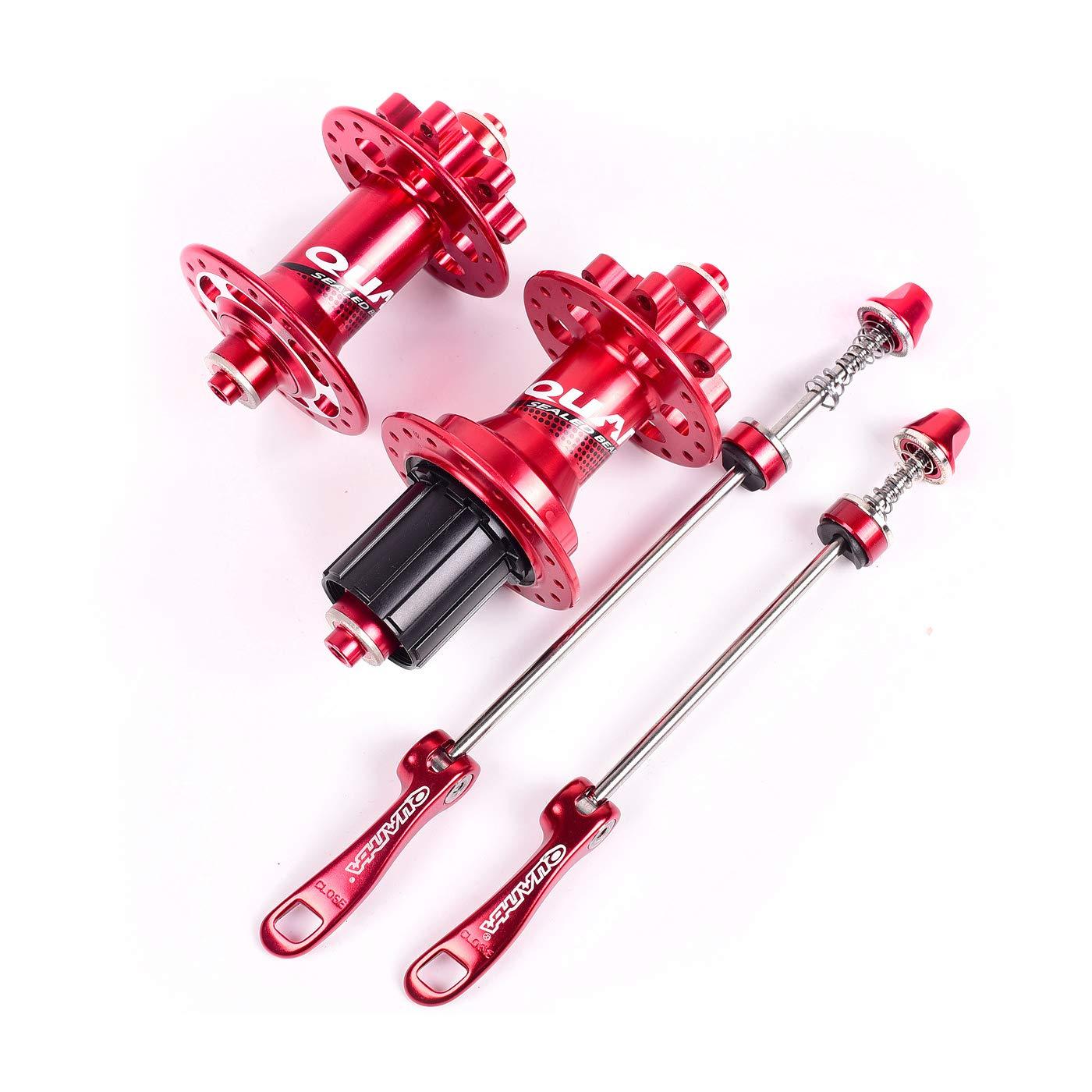 自転車ハブマウンテンバイクハブフロントリア クイックリリース付8-9-1-11スピード  red B07Q6RR9HW