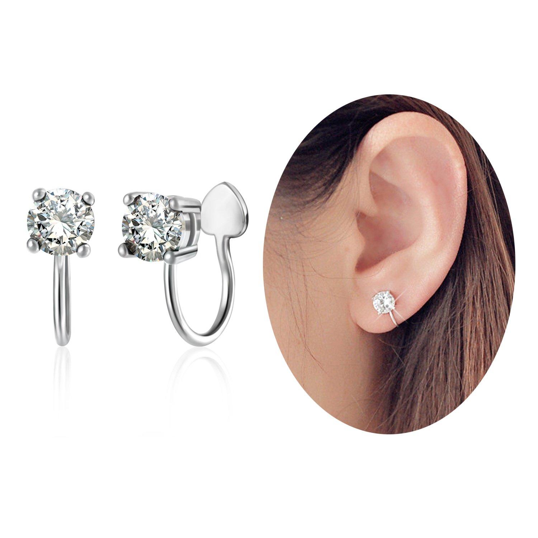 Aifeer Sterling Silver s925 Ear Cuff Cubic Rhinestone Earring No Piercing A Pair