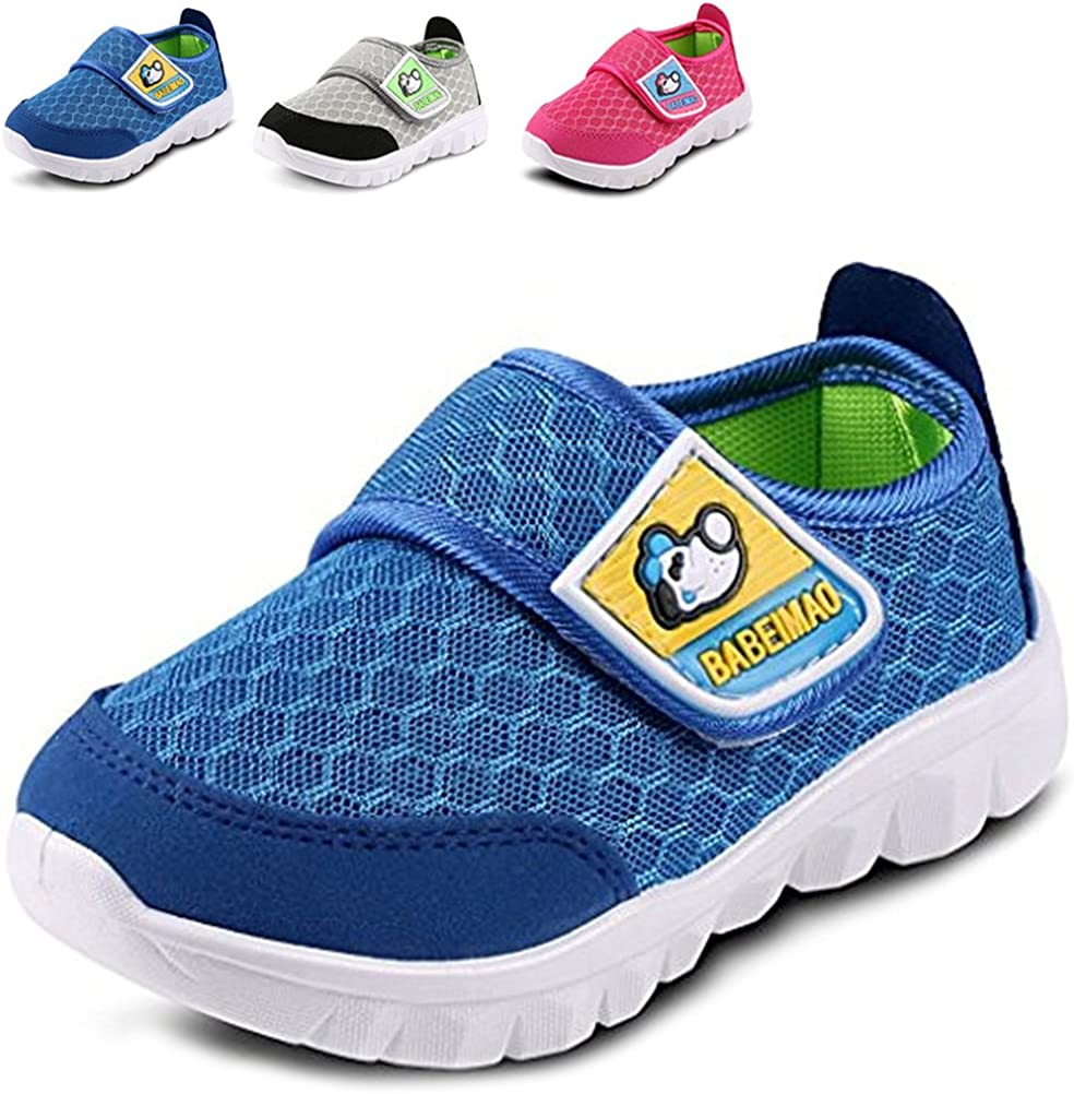 Toddler//Little Kid LONSOEN Kid Mesh Sneakers Athletic Hook-and-Loop Light Weight Running Shoes