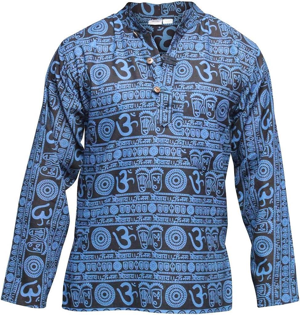 Shopoholic Fashion Om Print Grandad Hippie Camisa [4XL, azul]: Amazon.es: Ropa y accesorios
