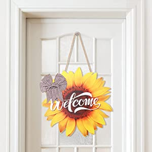 Sunflower Welcome Wood Sign RusticDoor Hanger Large Wooden Flower Sign Farmhouse Wall Porch Art Summer Fall Front Door Wreath Hanging for Bedroom Living Room Indoor Outdoor Kitchen Home Decor 12Inch (Special-Shaped)