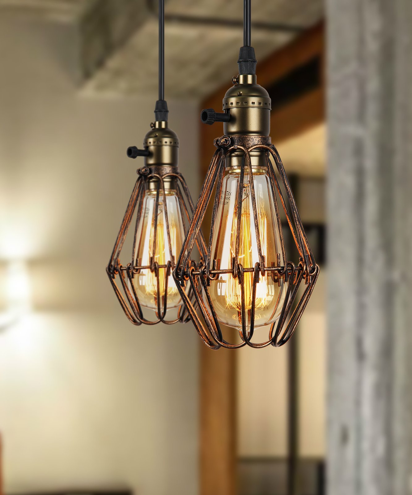 Ee 2 Modern Vintage Industrial Loft Metal Brown Rustic Pendant Light Fittings Bronze