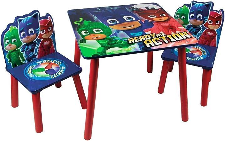 Juego de mesa y sillas de madera para niños – muebles de sala de juegos para interiores y infantiles. PJ Masks: Amazon.es: Bebé
