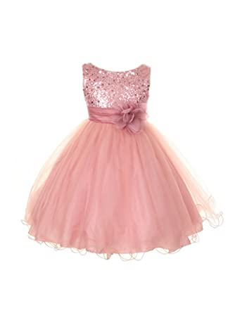 0961b228dd4 Kid s Dream Big Girls Dusty Rose Sequin Tulle Plus Size Party Dress 16.5