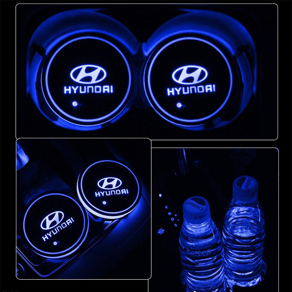 車用 LED ドリンクホルダー レインボーコースター 車載 ロゴ ディスプレイライト LEDカーカップホルダー マットパッド (Hyundai) B079C14DTR Hyundai Hyundai