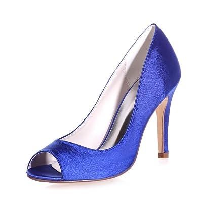 L YC 5623-12 Femelle Haut Talons en Soie Plate-Forme Furtivement Oute Chaussures de MariéE en Satin à L'ExtéRieur, Blue, 40