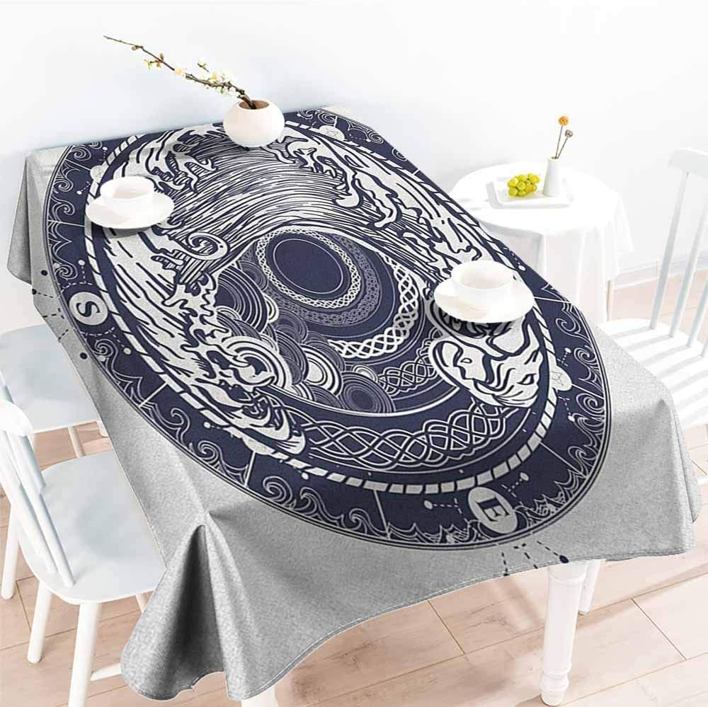 EwaskyOnline Fashions Rectangular Table Cloth,Compass Sea Navigation with a Drawing of Tempest Inside Big Wave Adventure Journey,Table Cover for Dining,W60x84L, Night Blue White