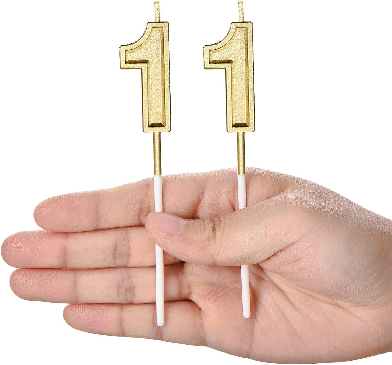 Candele di Compleanno di 11 Candele di Numero per Torta Candele di Torta di Buon Compleanno Decorazione di Topper per Bomboniera di Compleanno Nozze Anniversario Matrimonio Oro