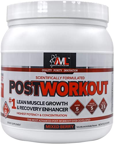 Advanced Molecular Labs – Postworkout Powder, Post Workout Recovery Drink, Muscle Builder Post Workout Supplement, Mixed Berry, 12.3 oz