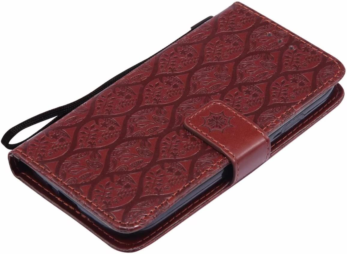 Photo Frame Laybomo Case for Samsung Galaxy S4 // I9500 // I9505 Cover Case Classic Vines Stripes Brown PU Leather Wallet Folio Flip Soft TPU Stand-View Magnet Protection Holster for Galaxy S4
