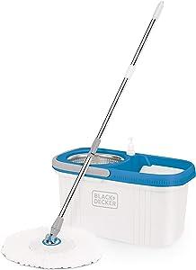 BLACK+DECKER BXBK0001GB 360° Spin Mop & Bucket with Stainless Steel Drum, 44cm x 24cm x 23cm, White