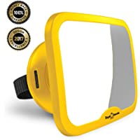 ROYAL RASCALS Baby Car Mirror for Back Seat - Updated Premium Model - Safest Yellow Frame – Shatterproof Baby Mirror for Car - Rear View Baby Car Seat Mirror to See Rear Facing Infants and Babies