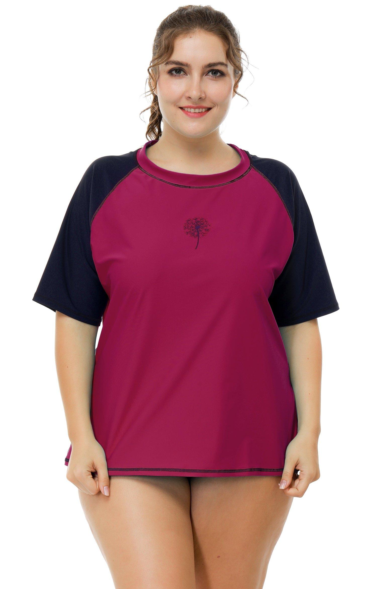ATTRACO Womens Plus Size Rash Guard Short Sleeve Swim Shirt SPF 50+ 1x by ATTRACO