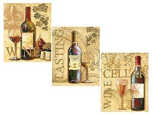 3 Wine Grape Art Prints Tuscany Posters Kitchen Decor Art Poster Print by Ron Jenkins, 8x10