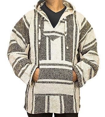 b78cb37d0 Mexican Baja Hoodie Hippie Surf Poncho Sweater Sweatshirt Pullover Jerga  (Small, Beige)