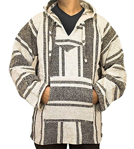 Amazoncom Del Mex Mexican Baja Hoodie Hippie Surf Poncho Sweater