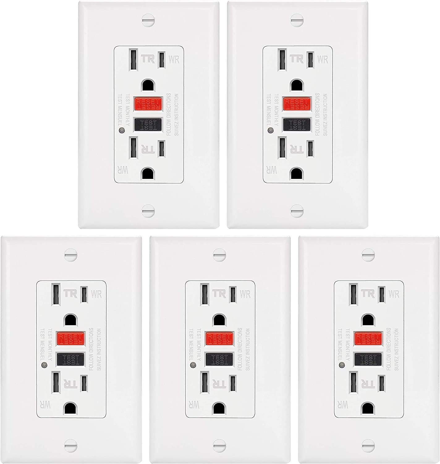 10 Pack 15A Weather Resistant GFCI Outlet by ELECTECK Decor Wall Plates and Screws Included Residential and Commercial White ETL Certified Tamper Resistant GFI Receptacle with LED Indicator
