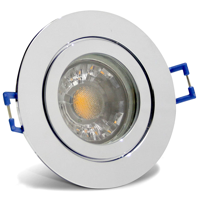6 Stück IP44 MCOB LED Bad Einbaustrahler Aqua 12 Volt 3 Watt Rund Chrom glänzend Neutralweiß