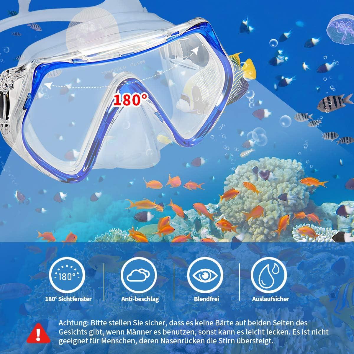 Supertrip Schnorchelset Taucherbrille mit 180/° Sichtfeld Anti-Beschlag Schnorchelbrille aus geh/ärtetem Glas Taucherset mit Dry Schnorchel f/ür Herren Damen Erwachsene Unisex Schnorcheln Set