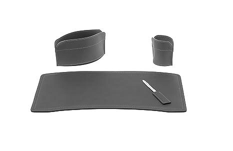 Brando set di accessori da scrivania in cuoio colore antracite