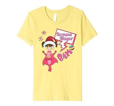 Kids Navidad Vestir- Camiseta Hermana Mayor Para Ninos Y Chicas 4 Lemon