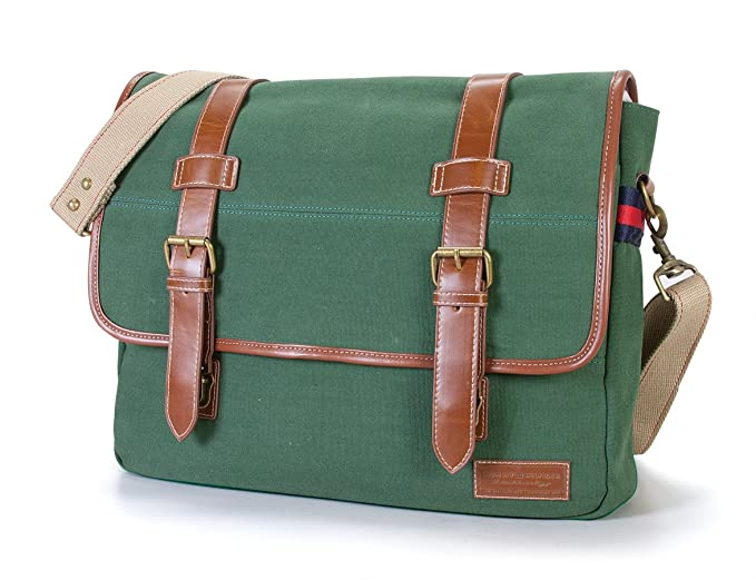 Tommy Hilfiger Workhorse Canvas Messenger Bag, Green, One Size