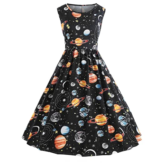 94ae9c0bfd61 Owill Women Vintage Printing Starry Sky Planet Space Dress at Amazon ...