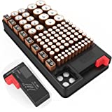 Battery organizer storage case with tester Support AA, AAA, D, C, 9V, and Button Batteries Storage box Holds 102 Batteries Various Sizes with Removable Battery Tester