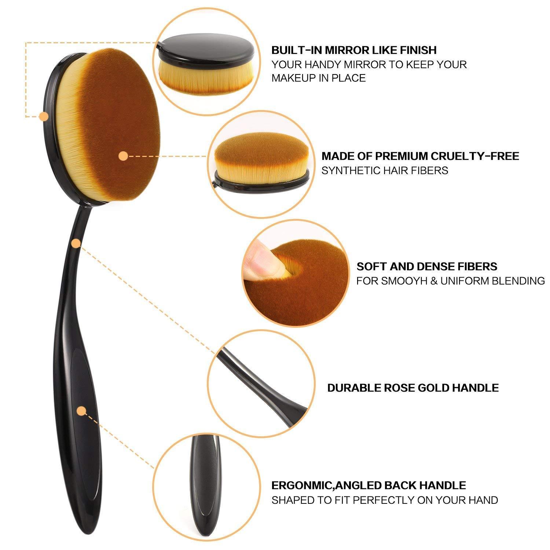Juego de 10 brochas de maquillaje profesionales para hacer brochas de maquillaje ovaladas, 10 unidades: Amazon.es: Belleza