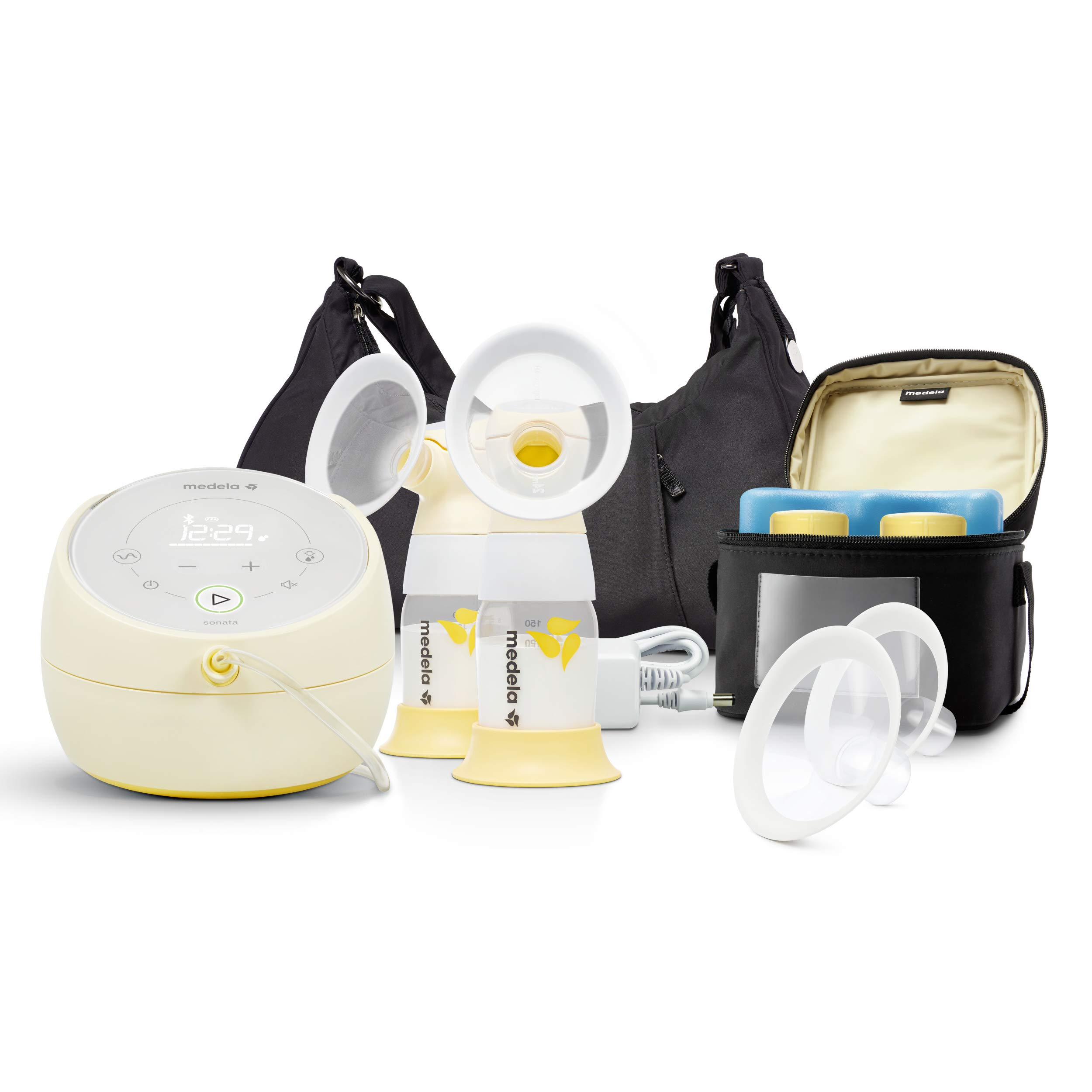 Medela Sonata Smart Breast Pump, Hospital Performance Double Electric Breastpump, Rechargeable, Flex Breast Shields, Touch Screen Display, Connects to Mymedela App, Lactation Support by Medela