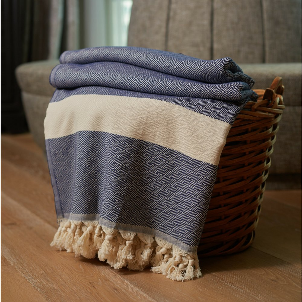 """100% Cotton Throw Blanket - Ultra Premium Natural Soft Hypoallergenic Luxury Large Sized Blanket for Couch Sofa Bed and Outdoors - 83""""L x 70""""W (Navy Blue)"""
