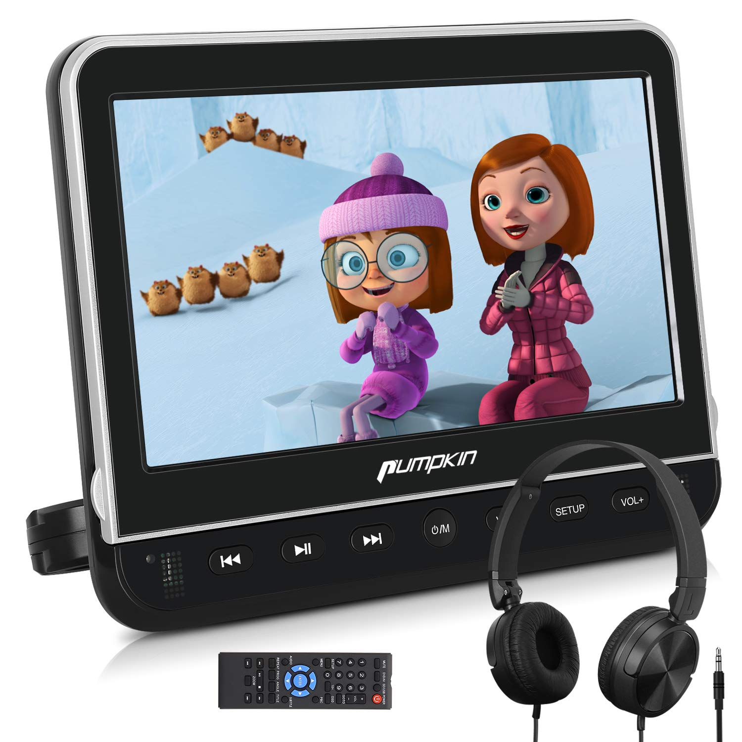 PUMPKIN 10.1 Inch Car Headrest DVD Player with Headphone, Support HDMI Input, 1080P Video, AV in Out, Region Free, USB SD, Last Memory by PUMPKIN