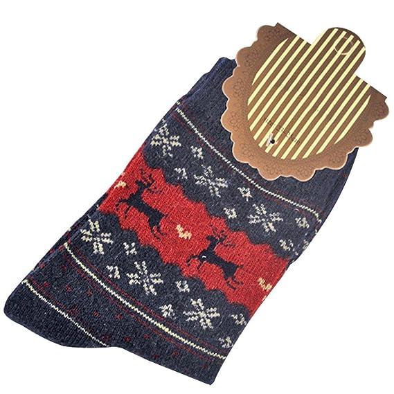 OULII Calcetines Mujer Navidad Dibujos Animados Ciervo Calcetines (Azul Oscuro): Amazon.es: Ropa y accesorios