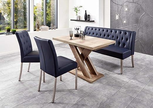 Bench Group Santa Iii Set Table 2 Chairs Dining Table 120 1585 X80x75 Bank158x66x89 Modern Dining Table Cross Frame Wild Oak Design Cover Dark Blue Lederiat Amazon De Kuche Haushalt