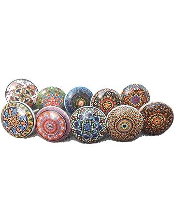 10 tiradores vintage de cerámica con distintos diseños de flores, ideales para puertas, armarios