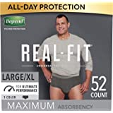 Depend Real Fit Incontinence Underwear for Men, Maximum Absorbency, Disposable, Large/Extra-Large, Black, 52 Count…